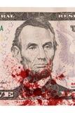 US five Dollar bill, close up, blood Stock Photos