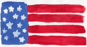 US flag. A childish water-color painting of the US flag Stock Photo