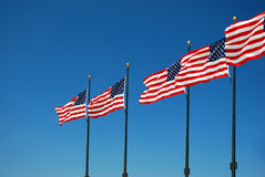 US Flag. United State flag in the sun Stock Photography