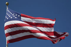 US Flag. American Flag with Blue Sky Background Royalty Free Stock Photography