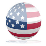US flag. 3d us flag. USA flag sphere with reflections royalty free illustration