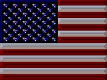 US flag. Metallic illustration of US flag stock illustration