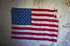 US Flag in an Abandoned Building Stock Images