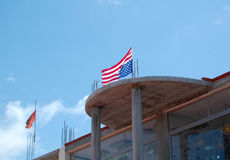 US flag on Albanian building Royalty Free Stock Photos