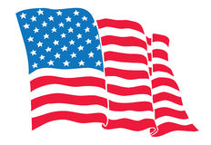 US Flag (American Flag) flowing waving. Illustration of the United States of America (the American flag) waving flowing. Colors are editable in addition vector Royalty Free Stock Photo