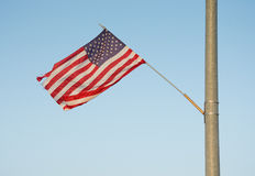 US flag attached to a street light Stock Image