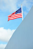 US Flag. Beautiful US flag wavering in the wind, from the outside Arizona Memorial royalty free stock image