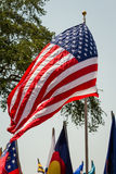 US flag blowing in the wind Royalty Free Stock Photos