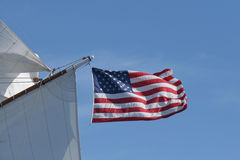 US Flag on Boat. US Flag on Square Rigger Royalty Free Stock Images