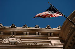 US Flag on a building. With faces Royalty Free Stock Image