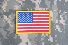 US flag on camouflage uniform Stock Photo