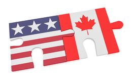 US Flag And Canadian Flag Puzzle Pieces, 3d illustration isolated on white royalty free illustration
