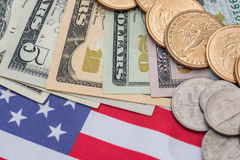 Us flag and cent coins, nationalism concept. Abstract business background - us flag and cent coins, nationalism concept royalty free stock images