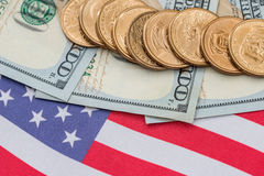 Us flag and cent coins, nationalism concept. Abstract business background - us flag and cent coins, nationalism concept stock photo