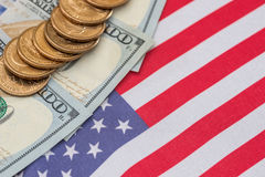 Us flag and cent coins, nationalism concept. Abstract business background - us flag and cent coins, nationalism concept royalty free stock image