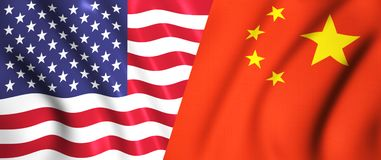 Us flag and chinese flag waving in the wind. Symbol of us vs china relation flag waving silk in the wind Stock Photo
