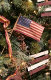 US Flag Christmas Ornament. US flag ornament on Christmas tree Stock Image
