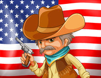 US flag and cowboy. Illustration of an american flag and a cowboy Royalty Free Stock Photography