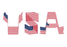 US flag curving as USA font Royalty Free Stock Photo