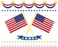 Us flag decor set Stock Photo
