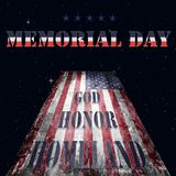 Memorial Day - flag and lettering 15. US flag destroyed from military operations against a starry sky with Memorial Day lettering in national colors and the Royalty Free Stock Photos