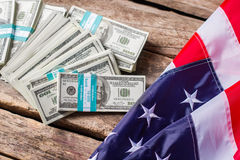 US flag and dollar bundles. Stock Photography