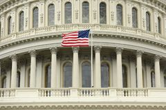 US flag on the dome of United States Capitol Building royalty free stock images