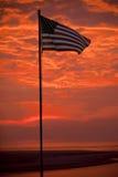 US Flag with dramatic sunrise Royalty Free Stock Images