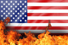 Us flag on fire Stock Images