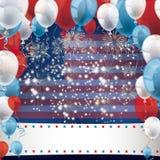 US Flag Fireworks Balloons Banner Stock Photo