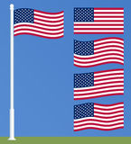 US Flag on the flagpole. Set of waving American flags. Stock Image
