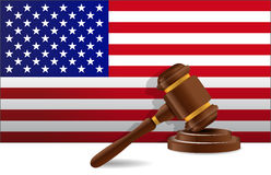 Us flag and gavel Stock Images