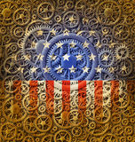 US Flag and Gears Design Stock Photo