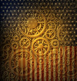 US Flag and Gears Design. Digital illustration combining hundreds of gears with the stars and stripes of the flag of the United States. The Gears of Democracy vector illustration
