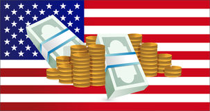 Us flag and gold coin towers. Stock Image