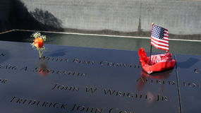 US Flag on Ground Zero Memorial Stock Photo