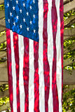 US Flag Hanging from Arbor Stock Image