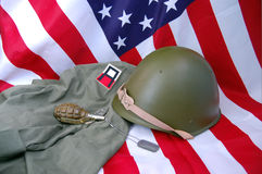 US flag and historical uniform Royalty Free Stock Image