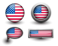 US Flag Icons Stock Photo