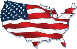 USA country-shaped Flag. The US flag imposed upon a shape of the country with wave effect and half-tones Stock Images