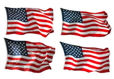 US Flag isolated on white Royalty Free Stock Photos