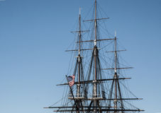 US Flag with Lines. This is the top of the USS Constitution with the flag blowing straight Royalty Free Stock Photography