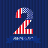 2 US flag logo. Anniversary 2 US flag logo. Template of celebrating icon of 2 nd place as American flag. USA numbers in traditional style on striped abstract vector illustration