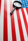 US flag looking through a magnifying glass. Study of the history and culture of the country of the United States. The concept of. Studying geography, English stock photos