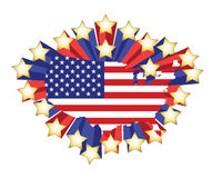 US flag map and 3d stars. illustration Royalty Free Stock Images