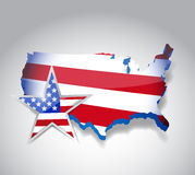 Us flag map illustration design Stock Photo