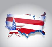 Us flag map illustration design royalty free illustration