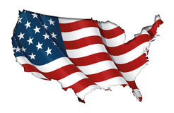 US Flag-Map Inner Shadow. US map cut-out with the flag enclosed. The image has clipping path for easy Background clean-up royalty free illustration