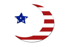 US flag moon star symbol Stock Image