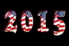 2015 US Flag. New Year 2015 US Flag on black background Stock Image